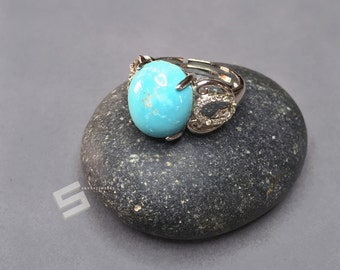 Natural Untreated Turquoise, Sterling Silver, Adjustable Ring, AAA Grade Sleeping Beauty Turquoise Ring, Arizona Light Blue Turquoise