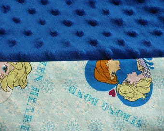 Pillowcase-Frozen Heart Light Blue Cotton and Royal Blue Dimple Dot Minky