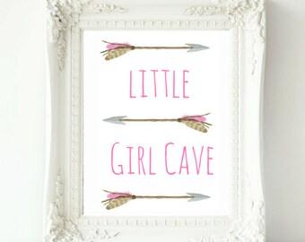 Little Girl Cave, Little Girl Cave Sign, Nursery Wall Art, Nursery Decor, Girl's Room Decor, Girl Cave, Watercolor Wall Art, Art For Girls