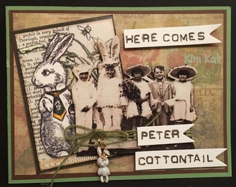 Easter Card Pop Up Peter Cottontail 3D Tim Holtz Vintage Photo Rabbit Charm Stampin Up OOAK Mixed Media Handmade