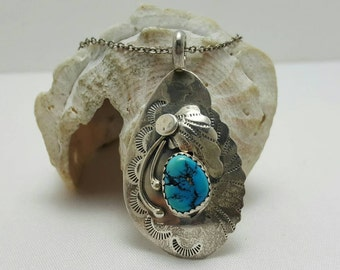 Turquoise And Sterling Pendant