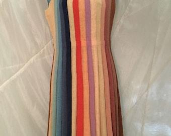 Vintage ladies  knit dress with pleated skirt