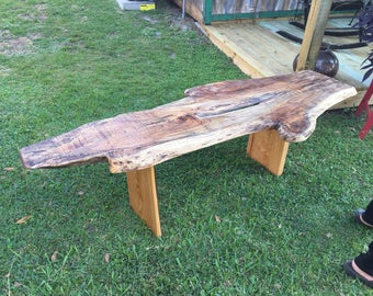 Live Edge Oak Bench with Cypress Legs