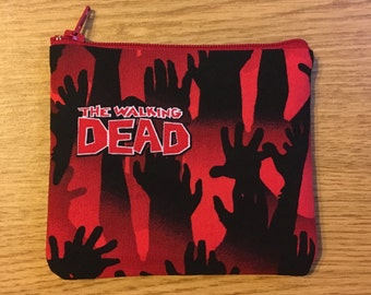 The Walking Dead Zippered Pouch, Change Purse, Coin Pouch