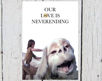 The NeverEnding Story Greeting Card (Falcor, 80s, Love, Anniversary, Birthday, Valentine, Fantasy, Adventure, Sweet)