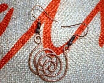 Handmade Hammered Copper Spiral Earrings