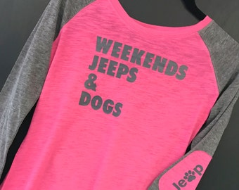 Weekends Jeeps & Dogs Graphic Tee (Pink and Gray): Women's Long Sleeve with Elbow Patches