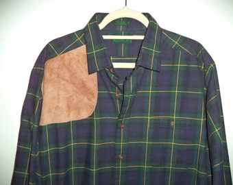 Abercrombie and Fitch flannel// Leather cotton plaid 80s hunting outdoor preppy button down shirt// Men's size extra large