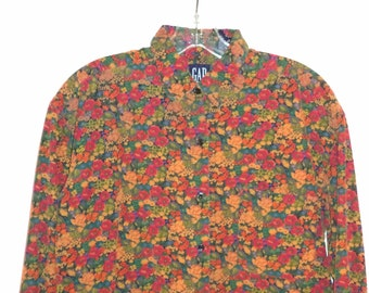 80s corduroy floral long sleeve shirt// Boho kitsch collar cotton hipster// Vintage Gap// Women's size small medium S M