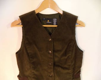 90s Corduroy vest// Wide rib short brown country boho button down buckles// Vintage Lizsport// Women's size 4 USA small
