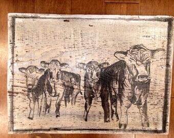Cows,  farmhouse cows, cow painting, cow barnboard decor, reclaimed barn wood cow art cow wall sign, farmhouse decor