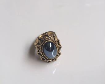 Vintage Black Stone Ring // Gift for Her