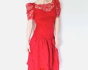 Vintage Red Lace Prom Dress | 1980s Mermaid Style Puffy Sleeve Dress