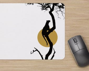 Mouse pad, leopard mouse pad, mouse pad with leopard, big cat, leopard on tree mouse pad, leopard on tree image