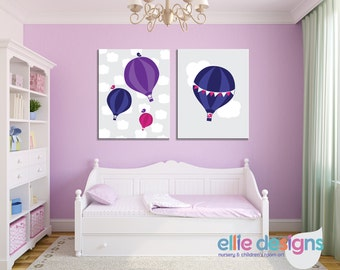 Hot Air Balloons Nursery Art, set of 2 - Personalized Nursery Decor - option of: CANVAS or DIGITAL files- nursery art - children's room art