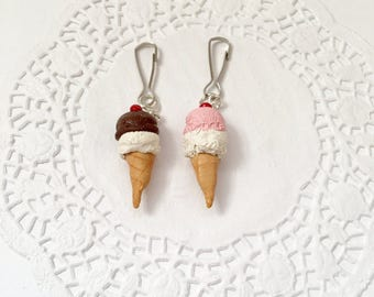 Miniature Polymer Clay Ice Cream Cone Charm, Kawaii charms, Kawaii Ice Cream, Miniature Food, Ice Cream Accessories, Ice Cream Keychain