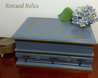 Vintage Jewelry Box hand painted in Annie Sloan Old Violet and Gold Rub N Buff up cycle shabby chic gift for her