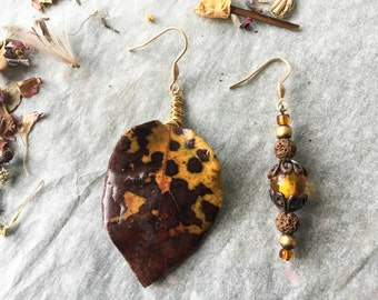 Quince leaf earrings-elven and bucolic-natural-botanical jewelry