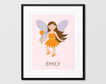 Orange Fairy Art, Fairy Wall Art, Custom Name Art,Nursery Art, Kids Wall Art, Childrens Art