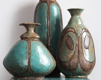 Ceramic vases, turquoise, beetle, pottery bottle, blue, crackle, rustic, interior vase, brown, ceramic bug