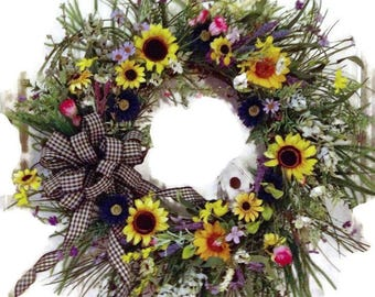 Primitive sunflower wreath,mothers day wreath,spring wreath ,grapevine wreath ,spring wreath,summer wreath