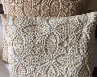 Decorative Lace Pillow Case / Crochet Cushion Cover