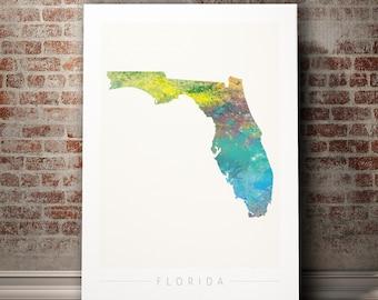 Florida Map - State Map of Florida - Art Print Watercolor Illustration Wall Art Home Decor Gift - NATURE PRINT