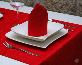 Luxury Red Table Runner - Anti Stain Proof Resistant - Pack of 2 units - Ref. Lyon - Large hem