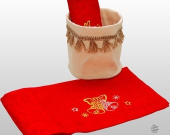 Luxury Embroidered Christmas Lyon Table Runner with Linen Basket - Pack of 2 units - Large hem