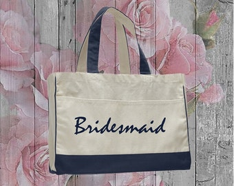 Cotton Canvas Tote ZipperPocket, Tote bag with name, Bridesmaid tote bag, Wedding Welcome Bag, Personalized Tote Bag, Shopping tote bag