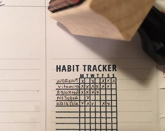 Habit Tracker-- Bullet Journal Stamp-- Free Shipping