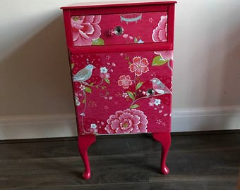 SOLD - Queen Ann spray-painted/decoupage bedside table - UK delivery available