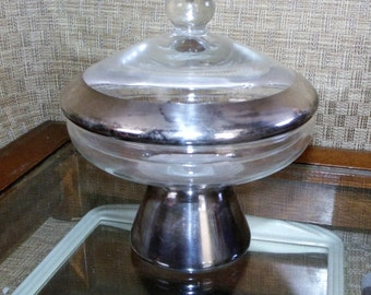 Scarce! Dorothy Thorpe Allegro Silver Band Compote w/ Lid, Covered Candy Dish ~ California Glass~ Silver Rim Glassware ~ Mad Men Mid Century