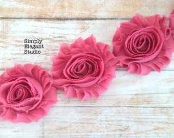 "Maroon Chiffon Shabby Rose Flower, 2.5"" Chiffon Flowers, Flower by the Yard"