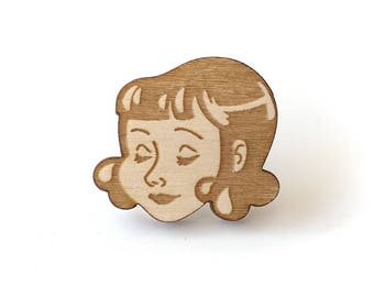 Lola Laser Etched Wood Pin
