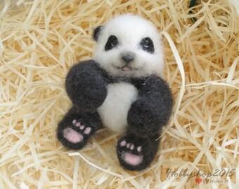 Baby panda toy Panda bear OOAK Needle felted panda bear  Felt Panda miniature  Black and white Panda Handmade needle felted animal