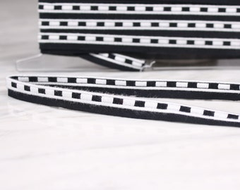 5 m of Ribbon 12mm, cotton, acrylic, black and white, (5006)