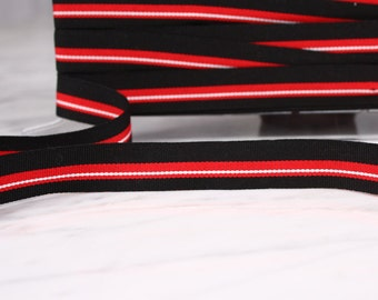 5 m tape 20mm, acrylic and polyester, black/red/white, (4963)