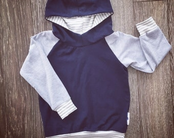 Hooded sweater for baby and child, bamboo Navy and grey stripes