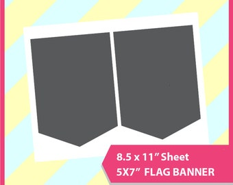 "Instant Download, 5x7"" Pennant Banner, flag banner Template, PSD, PNG and SVG Formats,  8.5x11"" sheet,  Printable 010"