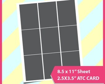 """Instant Download, 2.5x3.5""""  Atc Card Template, PSD, PNG and SVG Formats,  8.5x11"""" sheet,  Printable"""