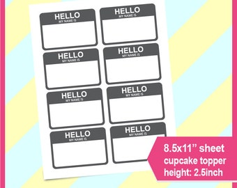 Instant Download Hello Name Tag Template My Is PSD