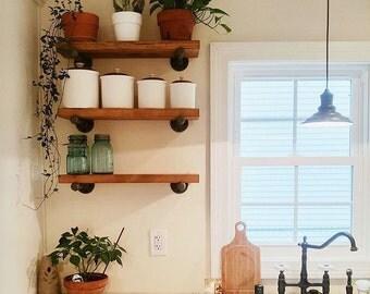 "Industrial Floating Shelves, Set of 3 Open Kitchen Shelves, 12"" Depth Pipe Shelves, Industrial Shelving, Open Shelving"