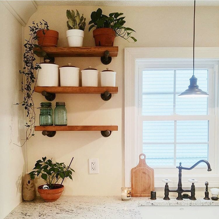 Kitchen Open Shelving Dust: Industrial Floating Shelves Set Of 3 Open Kitchen Shelves