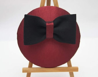 Fascinator red taffeta with black bow
