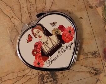 Anne Boleyn heart pocket mirror - Queen, Tudor, Flowers, Butterflies, Cosmetics,