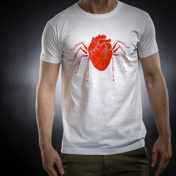 Heart,Spider shirt,tshirt men,white tshirt,Gift for him,Occult,Horror,Cotton,Sol's tee,Serial Popers tshirt