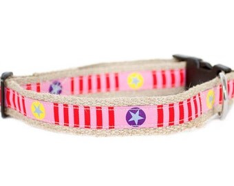 Dog collar / leash of STARS 'N' STRIPES PINK