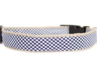 Dog collar / leash CHECK BLUE