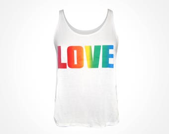 Womens ~ Rainbow LOVE ~ Flowy Side Slit Tank- White